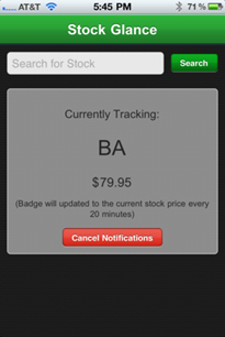 stock market updates with iPhone applications